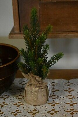 "New Primitive Country Pine Tree In Burlap Sack 10"" High Winter/christmas Decor"