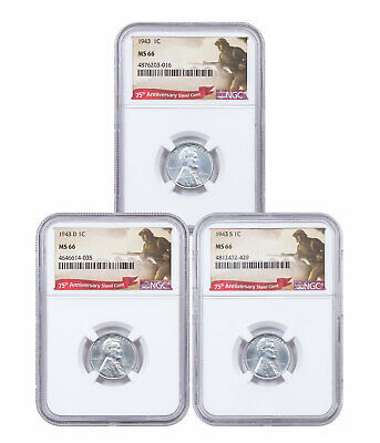 1943-P+D+S Steel 3-Coin Set Lincoln Cent NGC MS66 WWII Label SKU49646