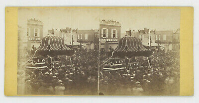 1865 Stereoview Lincoln Funeral Procession, Myers Grain Blgd., By Ridgway Glover