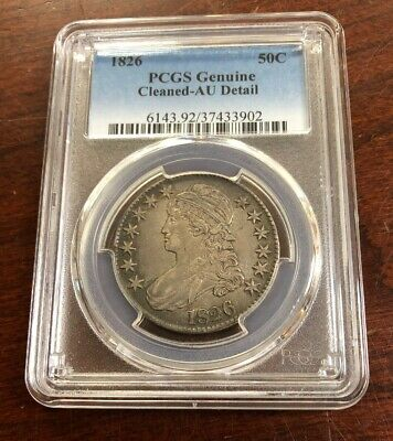 1826 50C Capped Bust Half Dollar PCGS AU Detail - Cleaned
