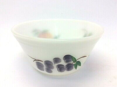 Vintage Used White Ovenware F Painted Fruit Small Mixing Bowl Kitchenware