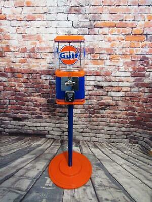 Gulf gas vintage Acorn  glass gumball machine  candy penny machine metal stand