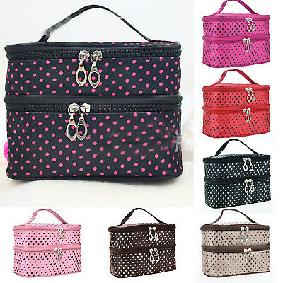 Women's Spotted Cosmetic Makeup Travel Toiletry Bag Pouch Organizer Handbag Case