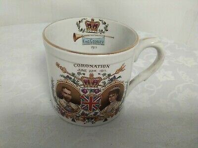Antique Coronation King George V Queen Mary 1911 Late Foley Shelly Cup Mug