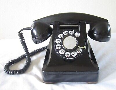 Vintage Western Electric Black Rotary Dial Telephone Phone Antique Desk Table Nr