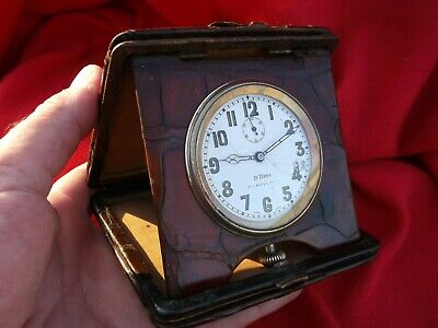 Rare Travel Carriage Clock Swiss Movement Croc Leather Covered Repair - Restore