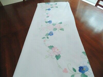 lovely large oval appliqued & embroidered tablecloth, flowers & grapes