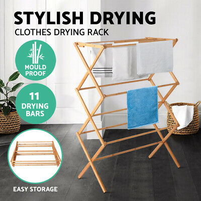 Bamboo Clothes Drying Rack Foldable Portable Eco Towel Dry Hanger Laundry NEW