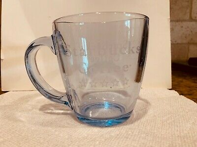 Starbucks Collectible Clear Glass Coffee Mug Cup Handle Clean  5 Star