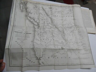 1838 Hood Map of the Oregon Territory with 1842 Monthly Chronicle Antique ORIG.