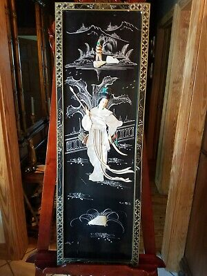Vintage Asian Mother of Pearl Wall Hanging