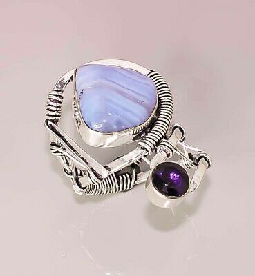 Blue Lace Agate Amethyst Quartz 925 Sterling Silver Plated Ring 8 Adjust