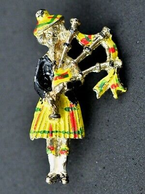 Scotland Scottish BAGPIPER BROOCH PIN VINTAGE Enamel &  Brass BX4