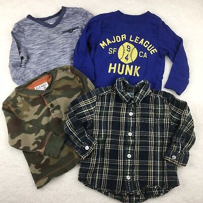 Old Navy Baby Toddler Boys 18-24 Months Long Sleeve Bundle Henley Button Down