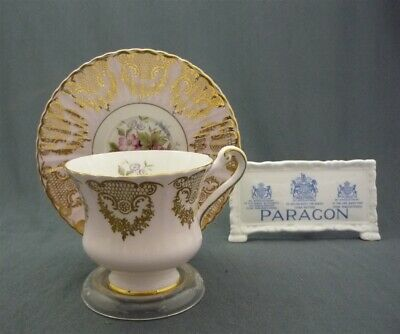 Fancy Paragon England Bone China PINK & Gold Fruits Flowers Tea Cup & Saucer Duo