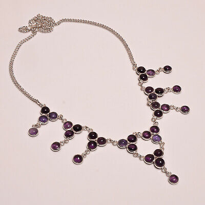 Amethyst Lace .925 Silver Plated Handmade Necklace Jewelry JB104