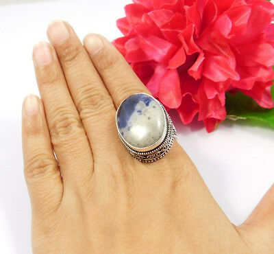 Sodalite .925 Silver Awesome Carving Ring Jewelry JC7533