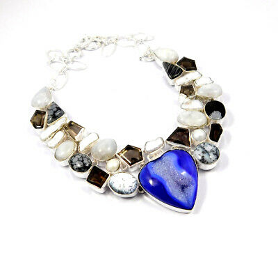 Multi Stone .925 Silver Plated Handmade Necklace Jewelry JC10183
