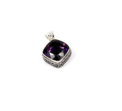 Amethyst Quartz .925 Silver Plated Hand Carving Pendant Jewelry JC10237