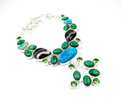 Multi Stone .925 Silver Plated Handmade Necklace Jewelry JC10184