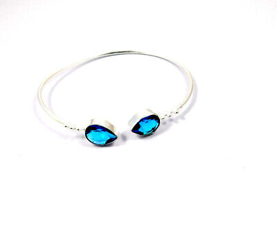 Swiss Blue Topaz Quartz .925 Silver Plated Bangle Cuff Jewelry JC10172