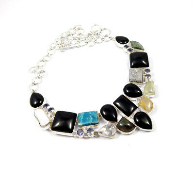 Multi Stone .925 Silver Plated Handmade Necklace Jewelry JC10197