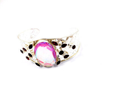 Mystic Topaz Quartz .925 Silver Plated Handmade Bangle Cuff Jewelry JC10125