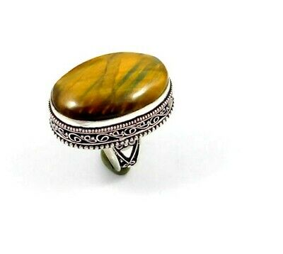 Charming Tiger's Eye Silver Carving Jewelry Ring Size 8.75 JT2343