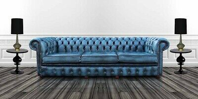 Chesterfield Real Leather 4 Seater Settee Antique Blue Leather Sofa Uk Handmade