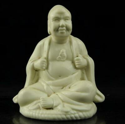 chinese old Dehua white porcelain carved feel happy arhat Buddha statue b02
