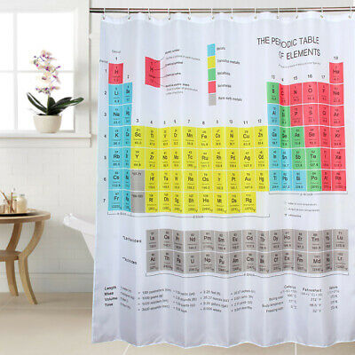 Colorful Periodic Table of Element Waterproof Fabric Shower Curtain Mat & Hooks