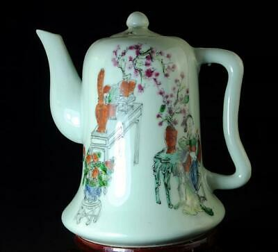 China Old Hand-made Pastel Porcelain  Hand Painted Character Figure Teapot B02
