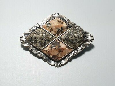 Antique scottish brooch with inlay agate stone