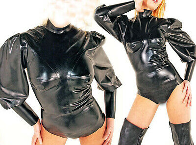 100% Latex 0.4mm Rubber Catsuit Schwarz Gummi Puff sleeve Short Bodysuit S-XXL