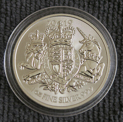 2019 Royal Coat of Arms 1oz fine silver bullion coin in capsule.