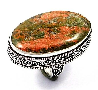 Unakite .925 Silver Awesome Carving Ring Jewelry JC7557