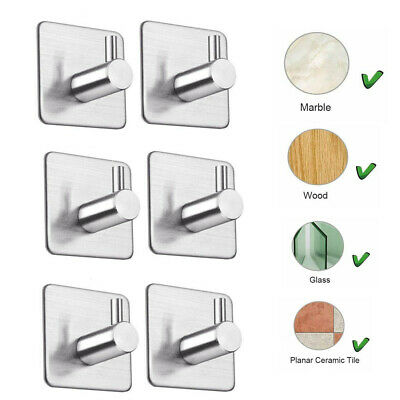 Self Adhesive Hook Stainless Steel Strong Sticky on Wall Door Hang 4/6pc Modern