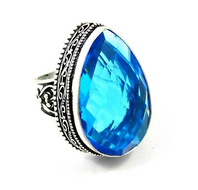 Lovely Swiss Blue Topaz Silver Hand Carving Jewelry Ring Size 9 JC3330
