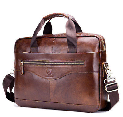 Mens Leather Black/Brown Briefcase Laptop Handbag Business Zipper Shoulder Bag