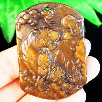 J78260 Carved Chinese Old jade Hand-made Tiger Pendant Bead 53x36x6mm