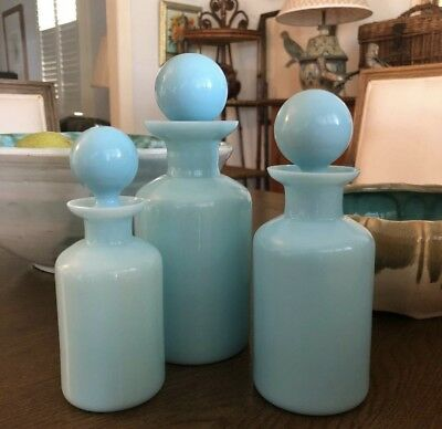 Portieux Vallerysthal French Blue Opaline Bottles c1920's X 3 Milk Glass Vintage