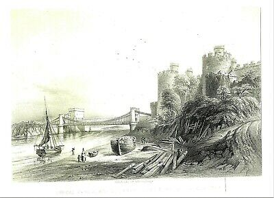 """Conway Castle, North Wales - Tinted Lithograph by Day & Son - c1840 - 11"""" x 14"""""""