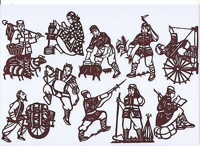 Paper Cut The People's Militia in China Set Brownish Black 10 small pieces