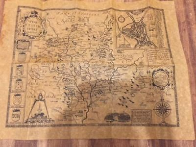 Authentic Replica On Antiqued Parchment Worcestershire 1610 Map