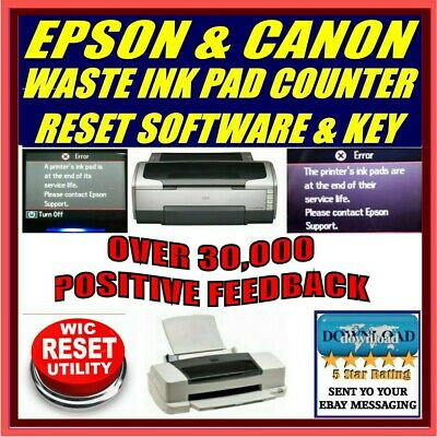 Epson & Canon Printer Waste Ink Pad Counter Error Reset + Key Download Px Sx Xp
