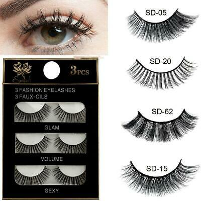 100%NEW 3D Mink False Eyelashes Wispy Cross Long Thick Soft Fake Eye Lashes UK