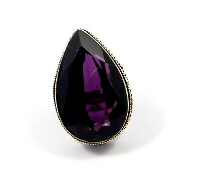 Amethyst Quartz .925 Silver Plated Carving Ring Size-5 Jewelry JC8807