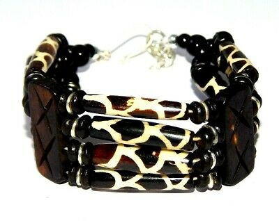 Graceful Fashion Painted Design Bone Bracelets With Chain Antique Jewelry B149