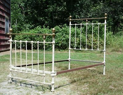 Vintage Cannonball Brass & Cast Iron French Country Shabby Chic Twin Bed Frame