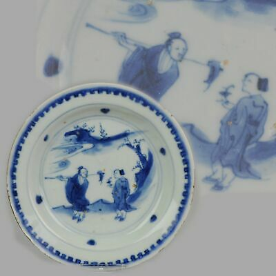 Antique Chinese Porcelain Ming Wanli / Tianqi Farmers in Landscape Plate...